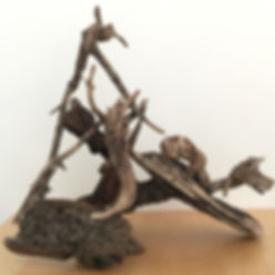 Picnic sculpture found objects view 3