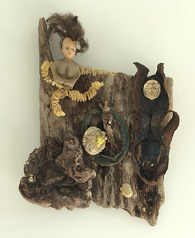 Barb and Diver beach found objects on wood 16x11