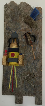 Blue Rain assemblage with found objects 41x16