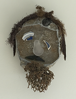 Mask assemblage beach found objects 11x8