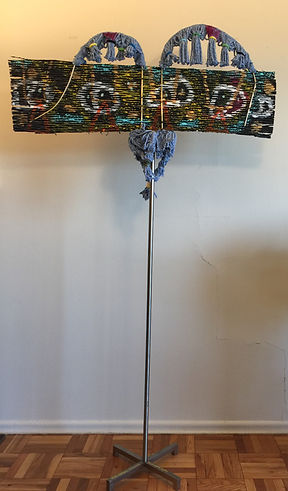 Rubawami Totem back Mixed media slitted cardboard, acrylic. Metal 72x40 20180713