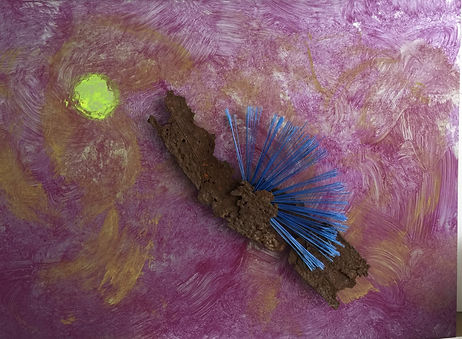 Sundragon acrylic on laminated wood with bristles and found metal 18x24  2017