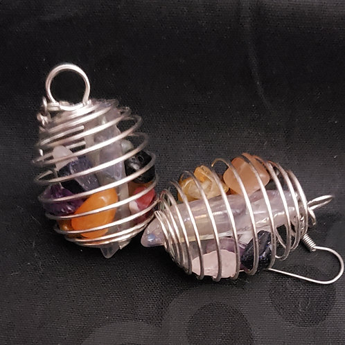 Caged Chakra Stone Earrings