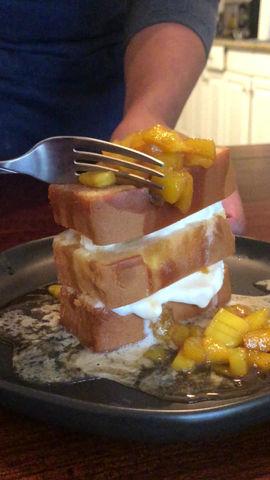 Mango Foster cake stack!