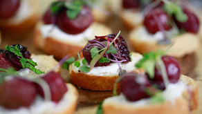 Balsamic Roasted Grape Crostini with Honey Whipped Goat Cheese