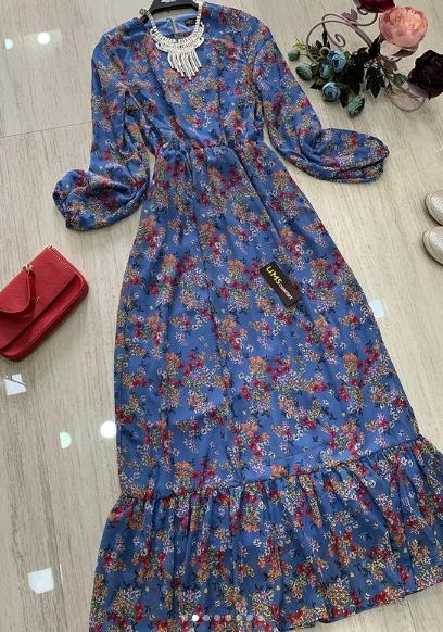 Şifon elbise mavi