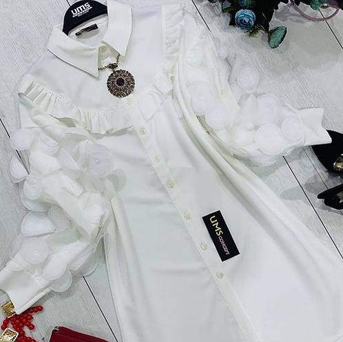 Kolları tüllü fırfır detaylı gömlek tunik