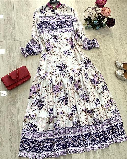Kol ucu fırfırlı belden salaş efil efil elbisemiz harika renkleriyle