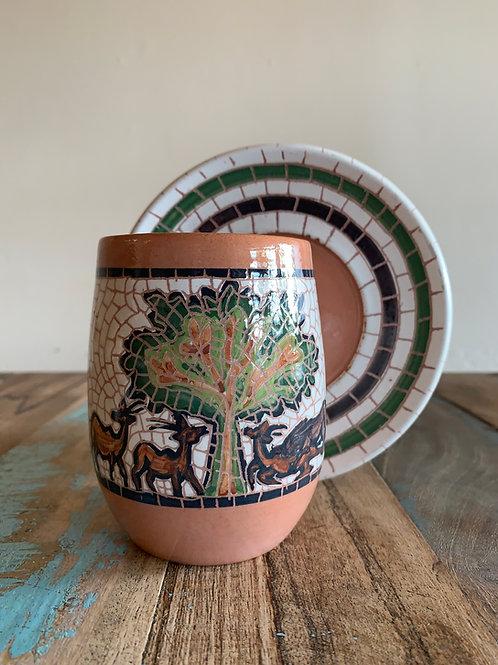 Mosaic Mug and Saucer
