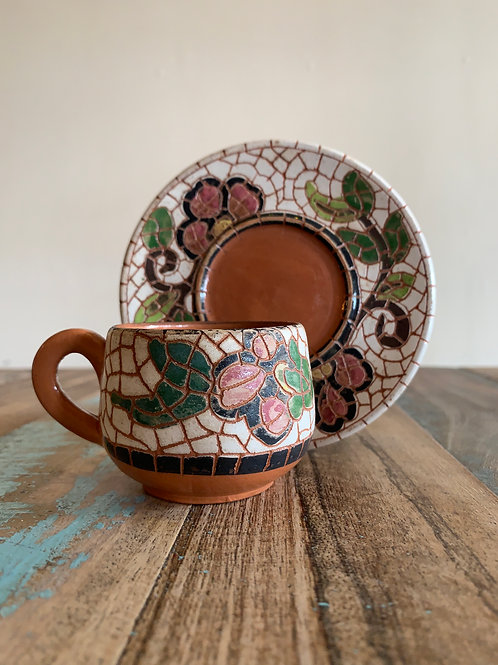 Mosaic Tea/ Coffee Cup and Saucer