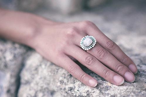 Sara Silver Ring with Raw Quartz