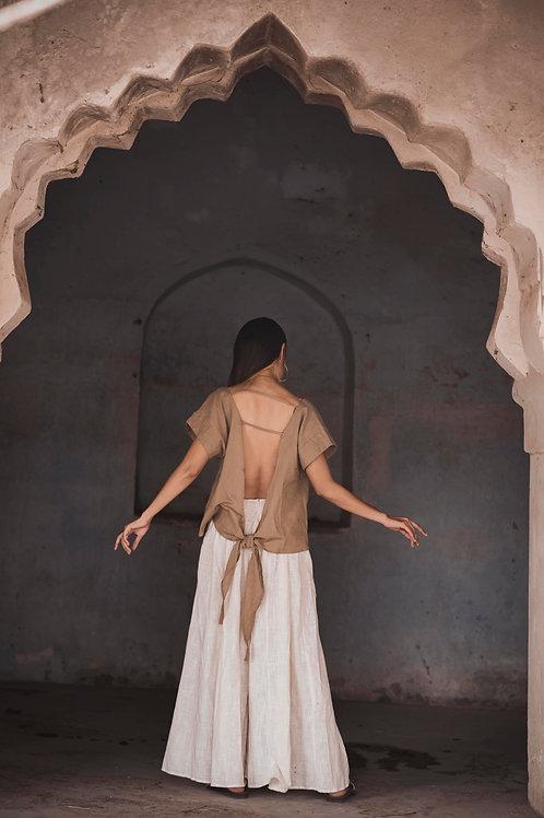 Cotton Linen, Open Back, Free Wrap Nala Top in Beige, Capsule Wardrobe