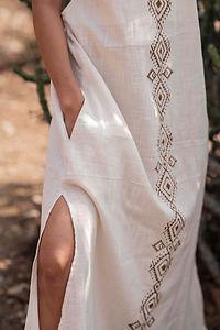 Hand Block Print Detail on Cotton Linen Sera Dress in Natural White