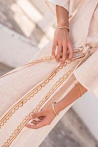 Block Print Detail on Cotton Linen Lyra Dress in Natural White