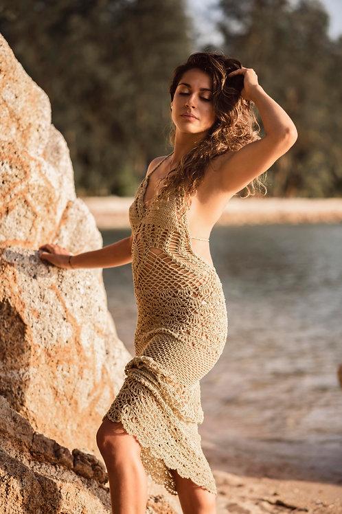 Long Slim Fit Hand Crochet Dress