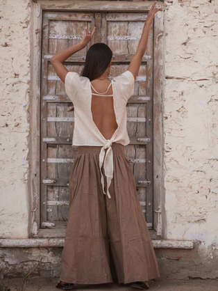 Liv Terra Trousers and Nala Top of Atman's Earthbound collection