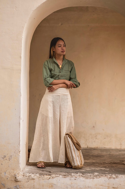 Cotton Linen Unisex Kai Shirt in Sage, Capsule Wardrobe