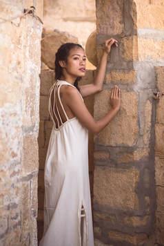 nefertiti dress in white, view from back