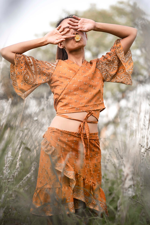 up-cycled Indian silk saree wrap around top and skirt Butterfly set in sunny orange