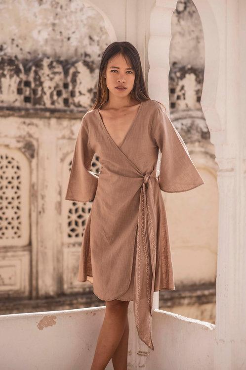 Lyra wrap dress with Hand Block Print in Beige