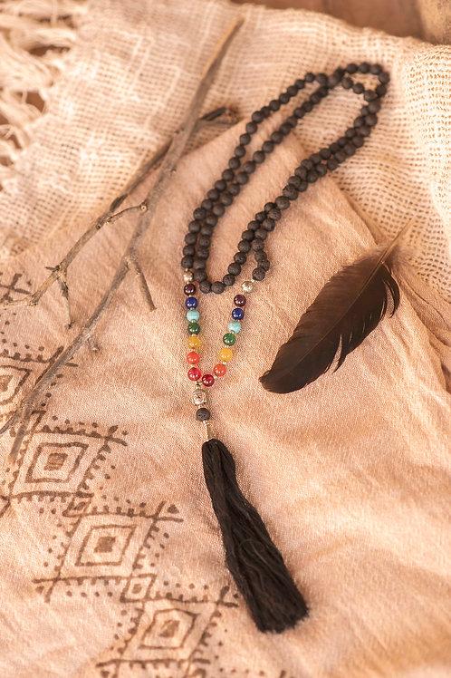 Seven Chakra Stones, Lava Mala with 108 beads