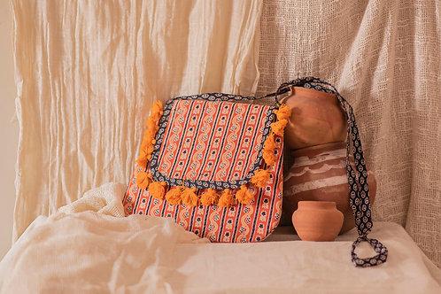 Ethnic Hand Block Print Saffron Shoulder Bag