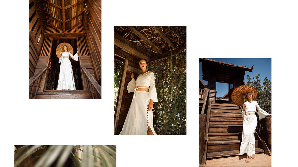 Stardust top and skirt set in off white, traditional thai house background