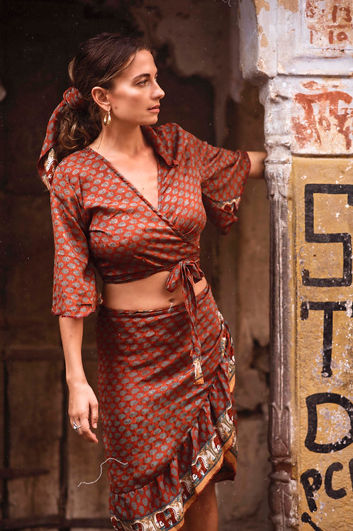 up-cycled Indian silk saree wrap around top and skirt Butterfly set in copper brown