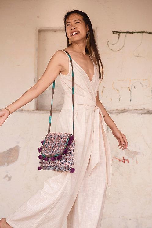 Hand Block Print Saffron Ethnic Shoulder Bag