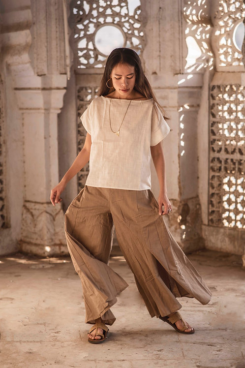 Free size, Maxi, Cotton Linen, Trousers, Skirt-Trousers in beige, Slow Fashion, Capsule Wardrobe