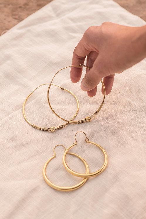 Brass Hoop Earrings set of Two