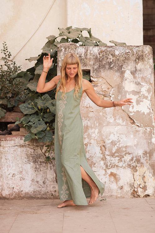 Sera dress with Hand Block Print in Sage