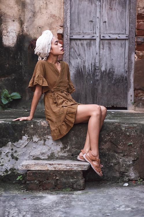 natural, hand-loomed, wrap around raw organic cotton mini Tara dress with hand block print pattern in masala