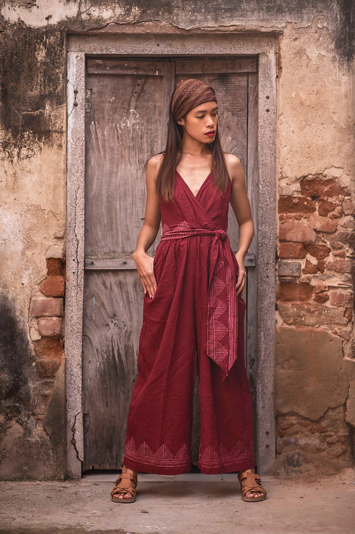 Leona Jumpsuit with Hand Block Print in Maroon