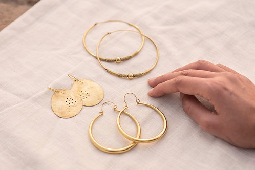 Set of Three Brass Earring Pairs