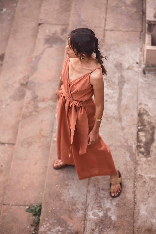 Cotton Linen, One Size, Leona Jumpsuit in Sandstone