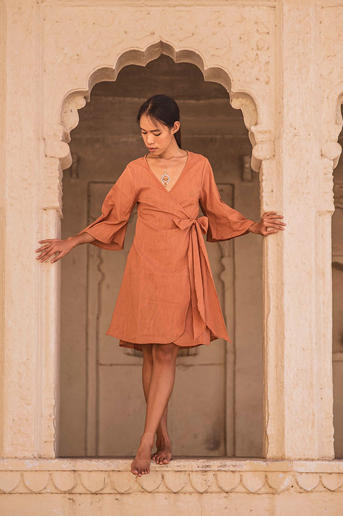 Cotton Linen, Wrap Around, Free Size, Lyra Dress in Sandstone