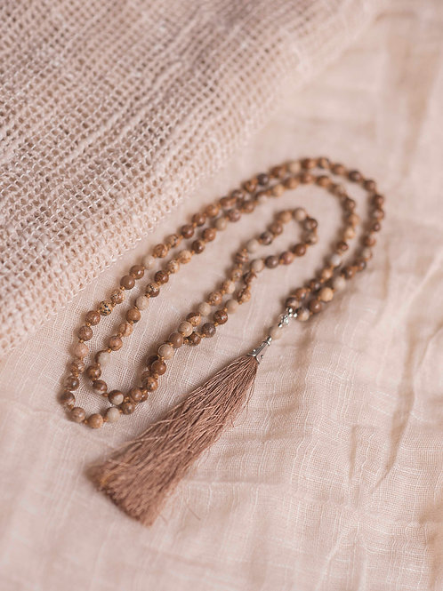 Handmade Picture Jasper Mala with 108 beads