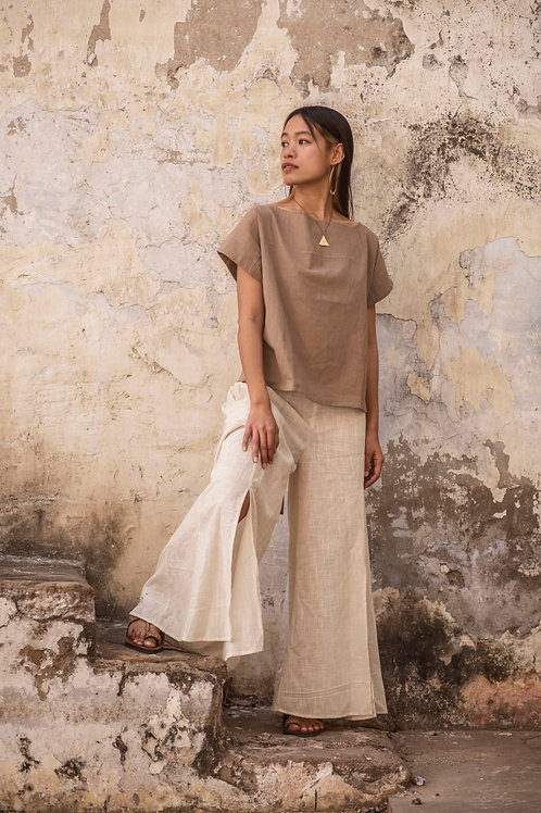 Free size, Maxi, Cotton Linen, Trousers, Skirt-Trousers in natural white, Slow Fashion, Capsule Wardrobe