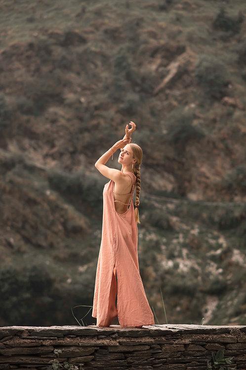 Sera dress in Soft Rose with Hand Block Print