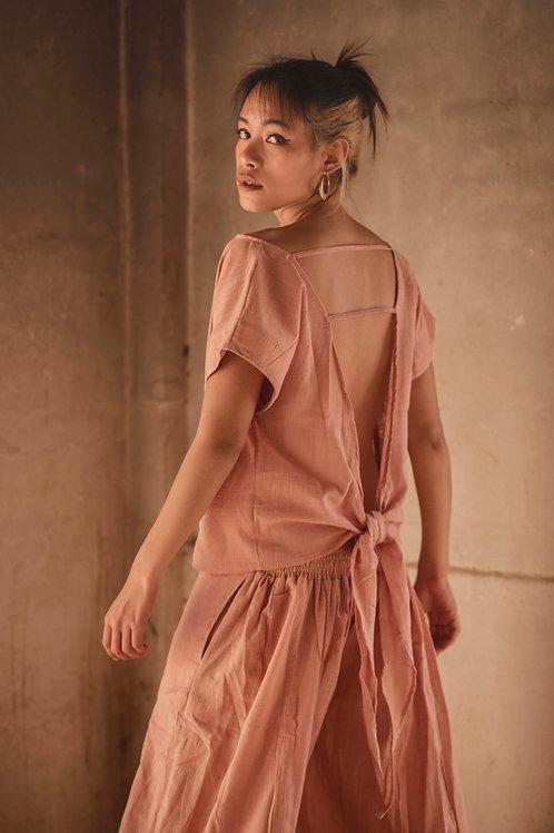 Cotton Linen, Open Back, Free Wrap Nala Top in Soft Rose, Capsule Wardrobe