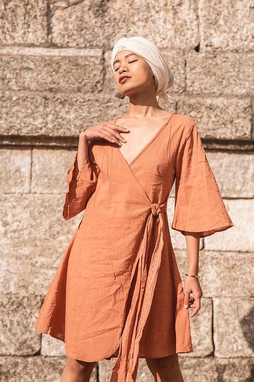Lyra Dress with Hand Block Print in Sandstone