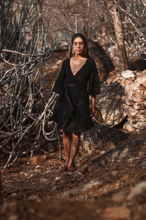 Cotton Linen, Wrap Around, Free Size, Lyra Dress with Block Print in Black