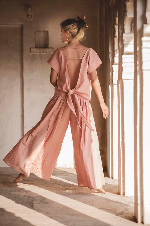 Free size, Maxi, Cotton Linen, Trousers, Skirt-Trousers in Soft Rose, Slow Fashion, Capsule Wardrobe