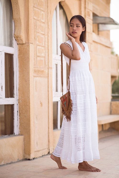Gorgeous Jasmine Maxi Dress with open shoulders in white