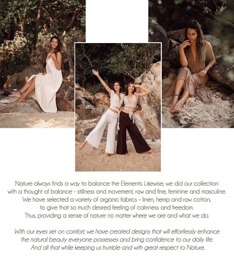beautifull girls on a rocky beach wearing sustainable clothes made of natural materials