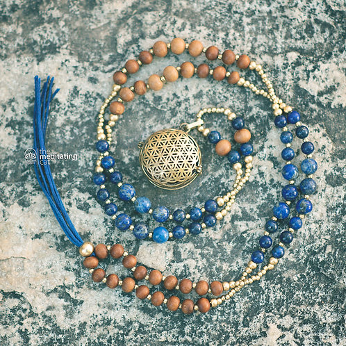 massive necklace with sandalwood, lapis lazuli and brass beads with flower of life singing box pendant