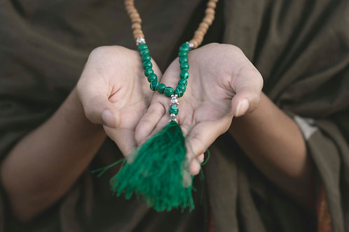 Handmade Mala with 108 Malachite & Wood beads