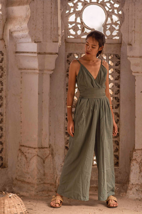 Cotton Linen, One Size, Leona Jumpsuit in Sage
