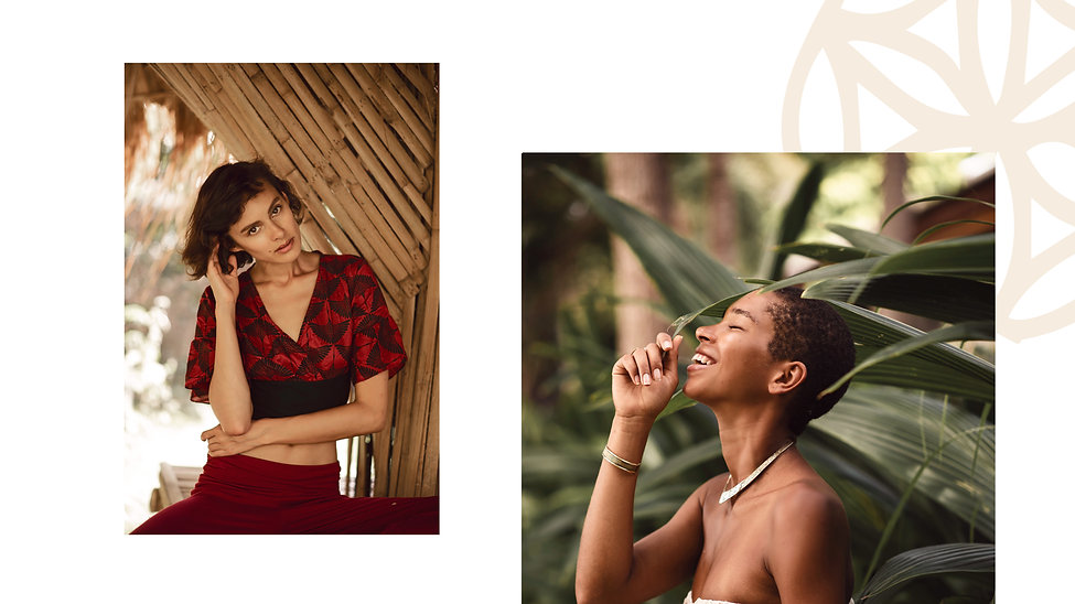 beautiful girls on a tropical island wearing slow fashion clothes